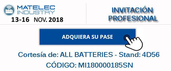 Entrada Matelec 2018 All-batteries